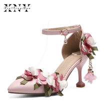 60df1ccf744c XIUNINGYAN Women Shoes Mary Jane Ladies High Heels White Wedding Shoes  Spring Thin Heel Pumps Shoes Flower Pink Plus Size 43