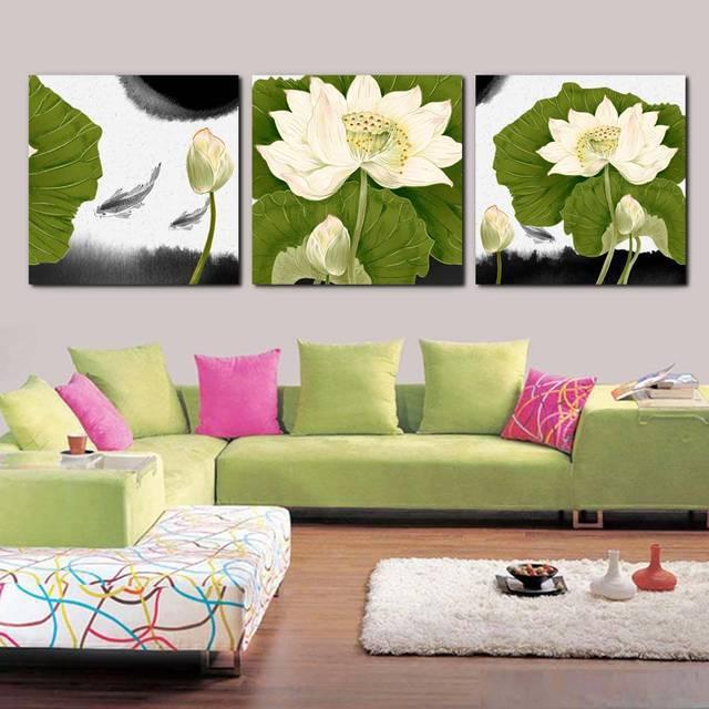 Lotus Flower Wall Art 2017 hot sale pieces flower wall art modern wall painting modern