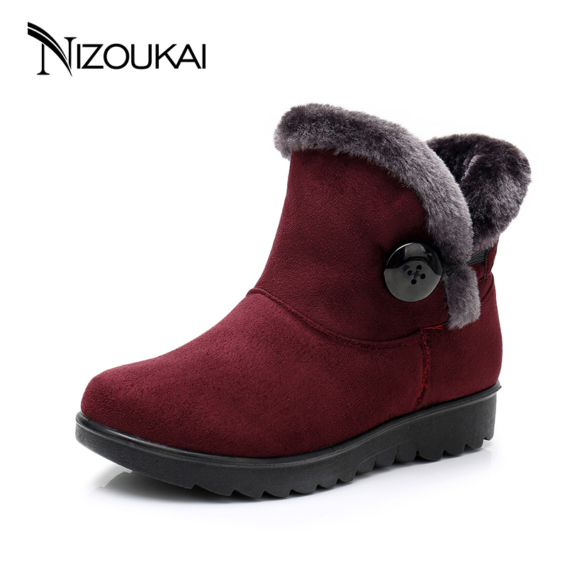 2018 <font><b>Winter</b></font> <font><b>boots</b></font> <font><b>Women</b></font> <font><b>ankle</b></font> <font><b>Boots</b></font> <font><b>For</b></font> <font><b>Women</b></font> <font><b>winter</b></font> <font><b>shoes</b></font> Casual Fashion Black Red Brown Warm Woman Snow <font><b>Boots</b></font> plus size image
