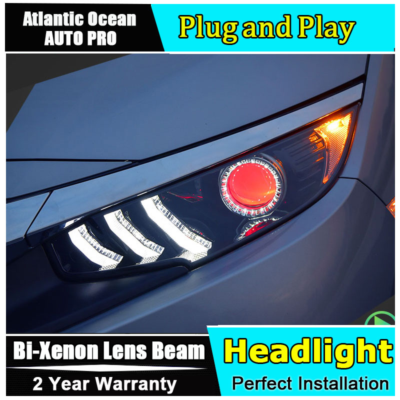 2016-2017 for Honda Civic LED Headlights For Honda Civic Lens Double Beam H7 HID Xenon bi xenon lens Car Styling hireno headlamp for 2016 hyundai elantra headlight assembly led drl angel lens double beam hid xenon 2pcs