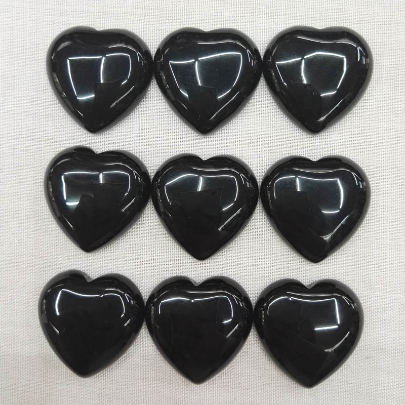Good quality 25mm Natural black onyx stone beads heart CAB CABOCHON for jewelry making Wholesale 20pcs/lot
