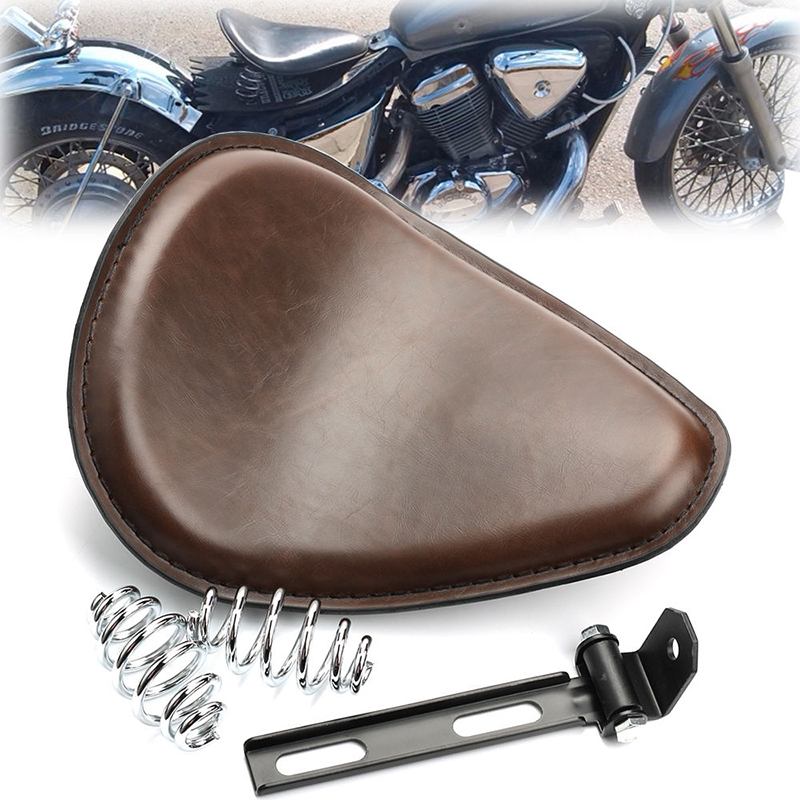 2017 New Brown Vintage Motorcycle Leather Solo Seat Cover 3 Spring Swivel Bracket For Harley Chopper Bobber Honda Custom