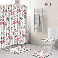 Set Home Decor Toilet Bathroom Rug + Lid Toilet Cover + Bath Mat & Mildew proof Waterproof Shower Curtains 180cm