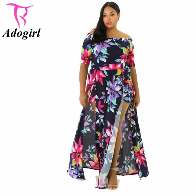 d231d0f8e9c Casual Floral Print Dress Women Sexy Off The Shoulder Slash Neck Short  Sleeve High Split Women Maxi Dress Beach Elegant Dress