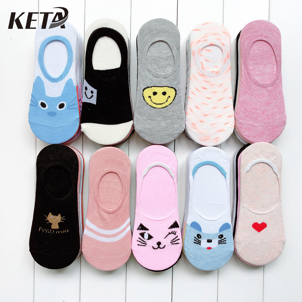 [KETA] 5Pairs/lot Cartoon Cute Women   Socks   Colorful Printed Cotton Ankle   Socks   Female Short Colorful Happy Funny Girl   Socks