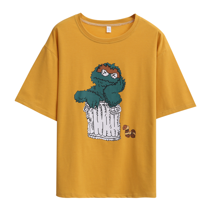 Fashion Cartoon Sesame Short Sleeve T Shirt Little Monster Cartoon Printed 100% Cotton Top Tees Casual TShirt