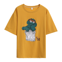 Fashion Cartoon Sesame Short Sleeve T Shirt Little Monster Cartoon Printed 100% Cotton Top Tees Casual TShirt