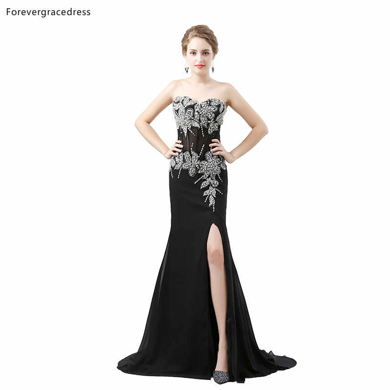 Vestidos De Noche Negros Elegantes De Forevergracedress 2019 Vestidos De Fiesta Formales Con Cuentas De Amor Talla Grande Hechos A Medida