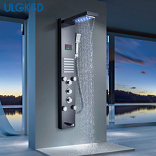 ULGKSD LED Waterfall Rain Shower Panel Bathroom Shower Faucet Massage Jets Tub Shower Column Mixer Tap Para Bar Bath