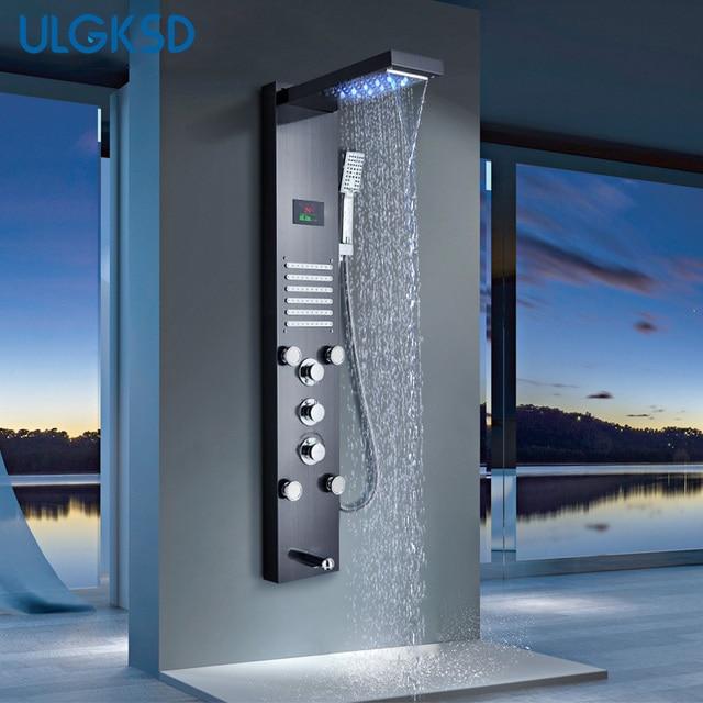 ULGKSD LED شلال دش لوحة الحمام دش صنبور تدليك الطائرات حوض عمود دوُش استحمام صنبور حوض خلاط الفقرة بار حمام