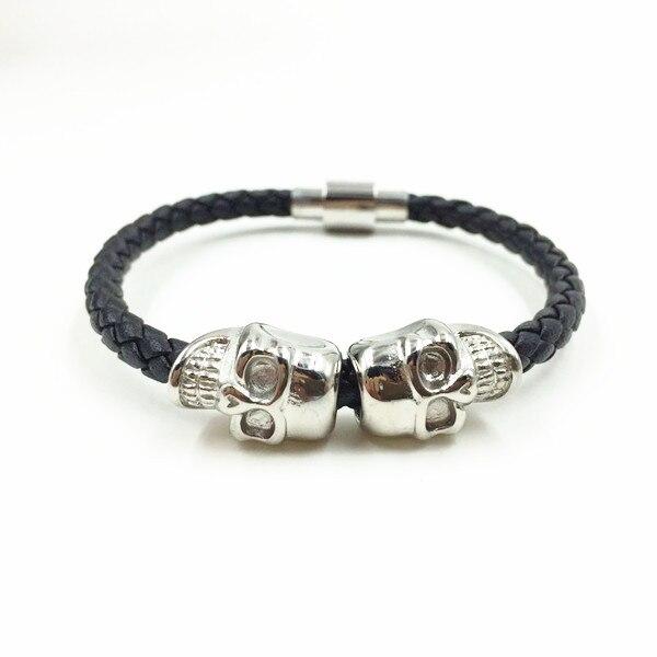 Top Sell Twnis Skull Stainless Steel Clasp Woven Genenie Leather Orginal Design Bracelet