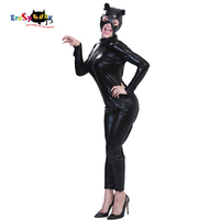 Carnival Sexy Costume Halloween Adult Black Leather Tights Bodysuit Cat Woman Catsuit Anime Cosplay Super Hero Jumpsuit Mask