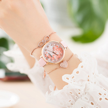 3Pcs Womens Bracelet Watches Set With Gift Box Fashion Fireworks Face Jewelry Bracelets Chain Clock Leather Quartz Hot