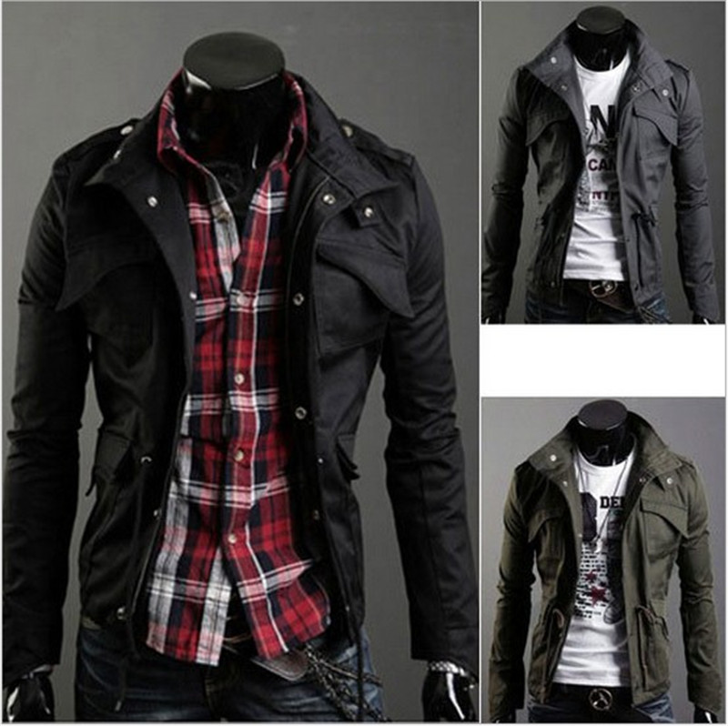 437030860ff Men's Fashion Brand Clothing New Slim Sexy Top Designed Mens Jacket Coat  Colour:Black,Army green,Gray,Wholesale,hot men clothing