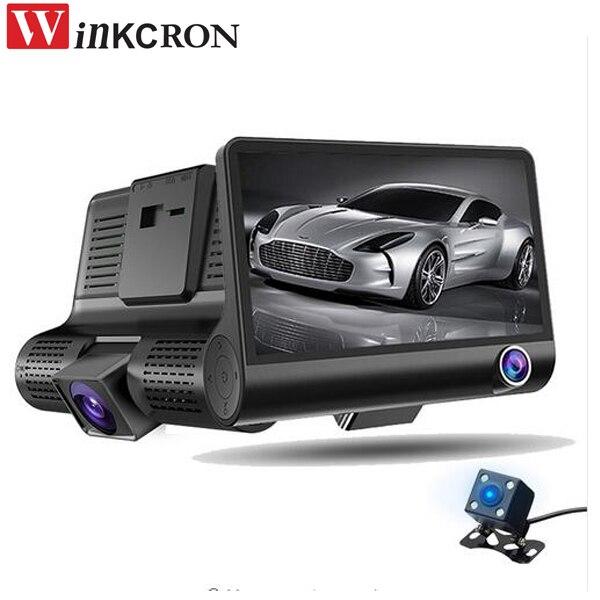 """4.0"""" Car DVR Camera video Recorder Dash Cam G-sensor Video Registrator 3 Lens Camcorder WDR Night Vision Auto DVRs Tachograph"""