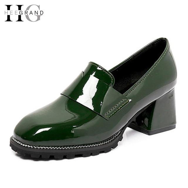 1ba69df983cc Hee grand sexy tacones altos resbalón de los oxfords primavera bombas  Patend PU de Cuero Zapatos de Tacones Cuadrados Sólido Ocasional Zapatos de  ...