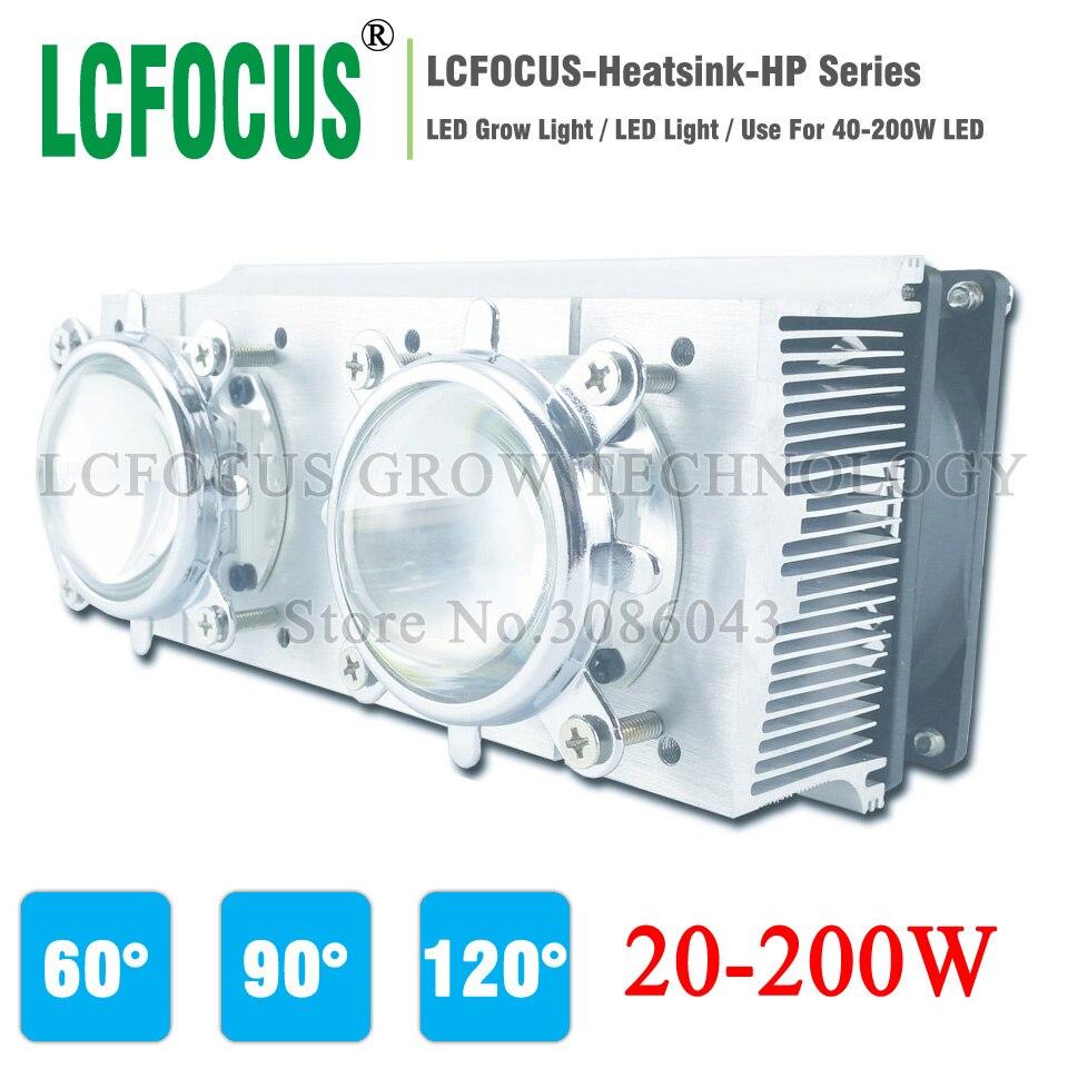 Radiateur de radiateur LED + 60 90 120 degrés Len + support de réflecteur + ventilateurs pour système de refroidissement de LED haute puissance 20 W 30 W 50 W 100 W 200 W
