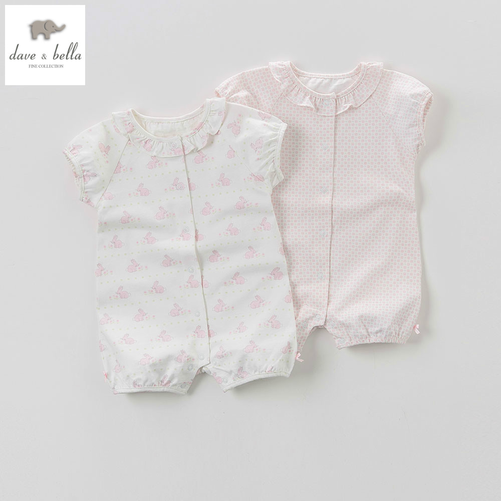 DB5856 dave bella summer new born baby girls cotton romper kids infant romper childs lovely rompers 2 pc children romper