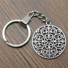 New Vintage Keychain Antique Silver Color 41x36mm Mandala Pattern Pendant Key Chain Ring Holder Dropshipping