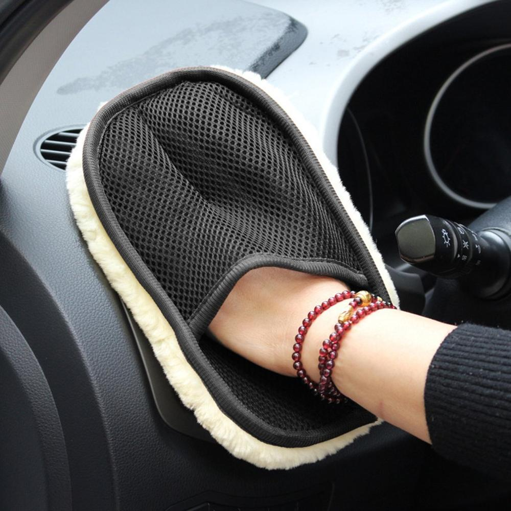 Wool Car Wash Gloves Car-wiping Waxing Gloves Clean Polished Automobile Articles Fluffy Bear Paw Beige
