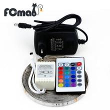 3528 RGB СВЕТОДИОДНЫЕ Ленты 300 Светодиодов/5 М SMD + 24Key ИК-Пульт Дистанционного контроллер + 12 В 2A Адаптер Питания Гибкая Светодиодная Бесплатная доставка