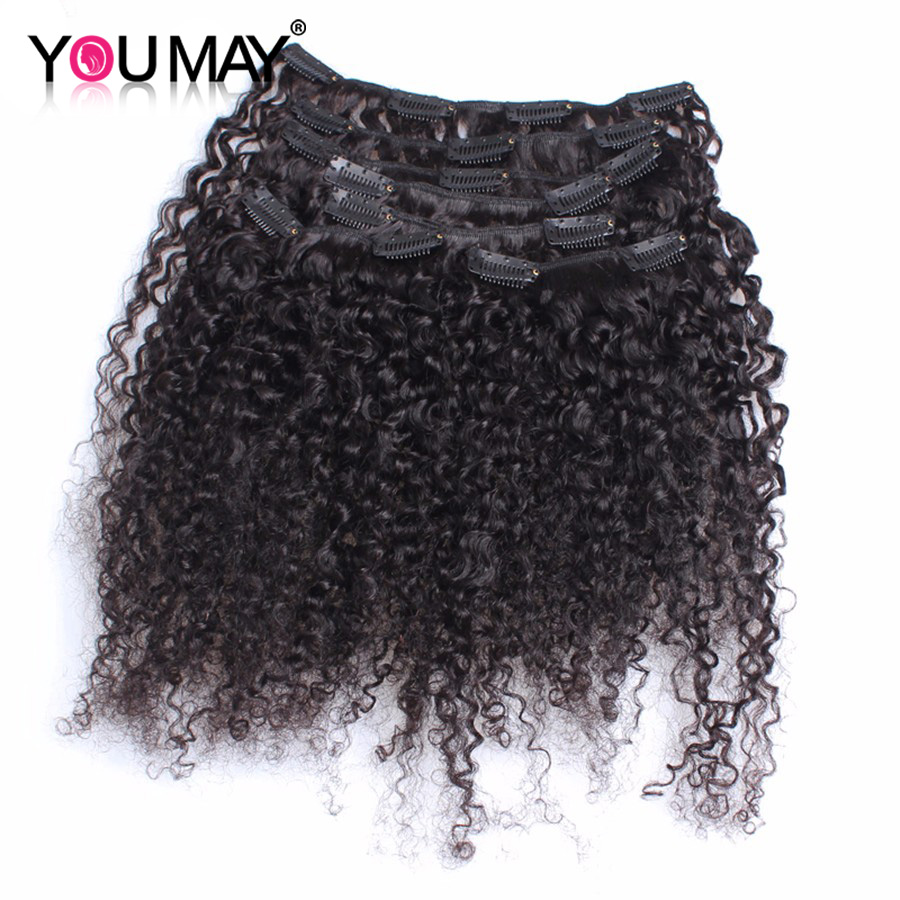4B 4C Afro Kinky Curly Clip In Human Hair Extensions For Black Women Brazilian Virgin Hair Clip In Curly Hair Extensions 120g