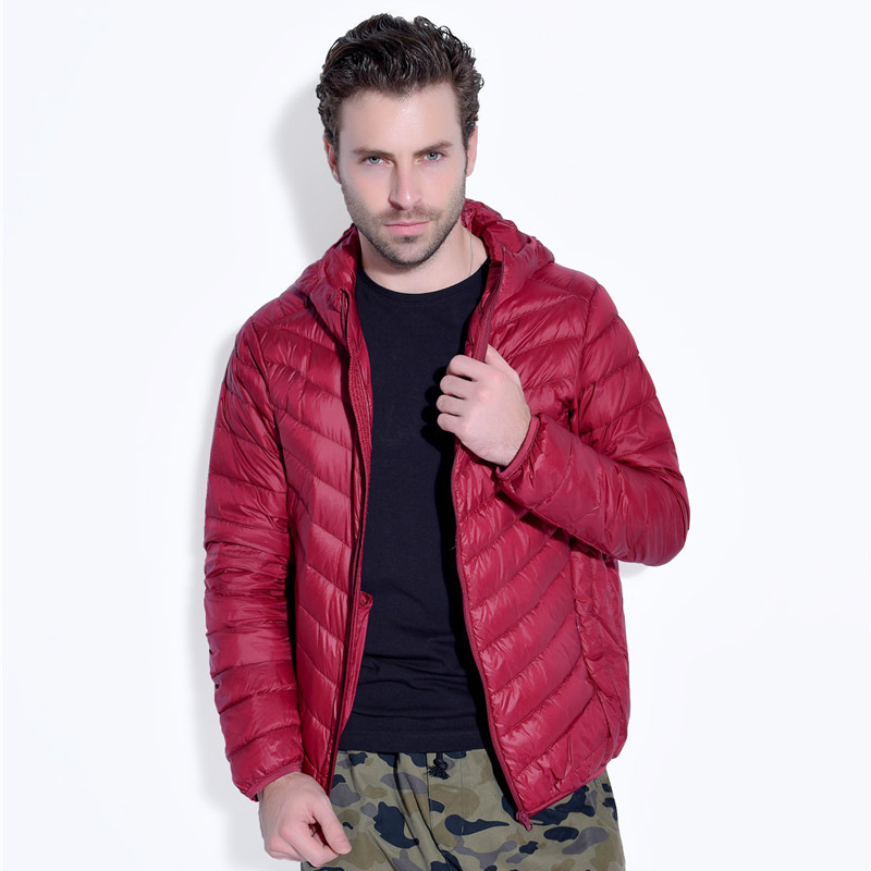 Special Offer Fashion Ultra Thin Lightweight Men S Down Jacket Man Large Size Hooded White Duck