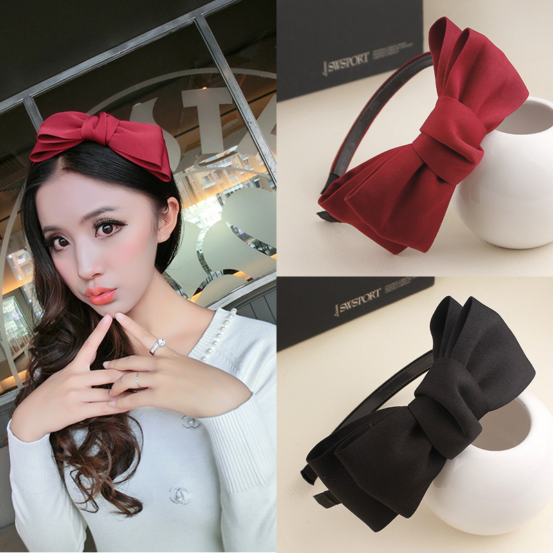 2016 New Girls Women Hairbands Hair Holders High Level Big Bowknot Party Accessories Fashion Super Fashion Free Shipping 2017 new girls bowknot headbands korean style rabbit ears lady women fabric hairbands holders accessories fashion free shipping