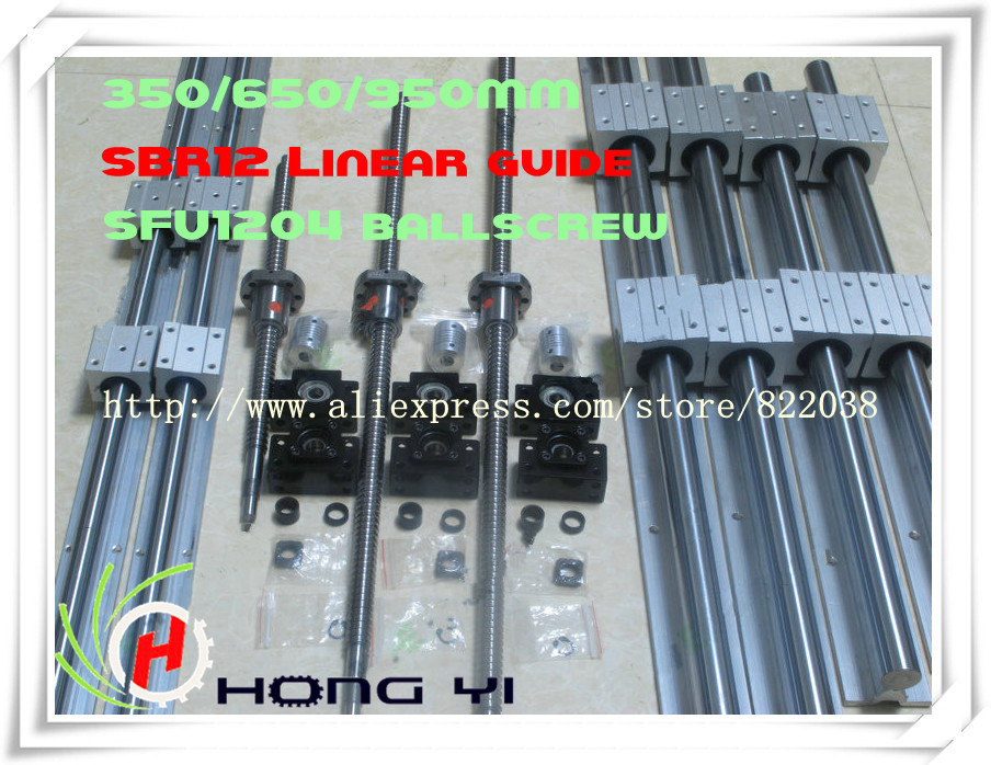 2 X SBR12 -300/600/900 mm Linear rail support sets+3 ballscrews RM1204 +3 BK10 BF10 Ball screw Support +3 coupling for CNC 2 x sbr20 300 600 1000mm linear rail support sets 3 ballscrews rm1605 3 bk bf12 3 coupling