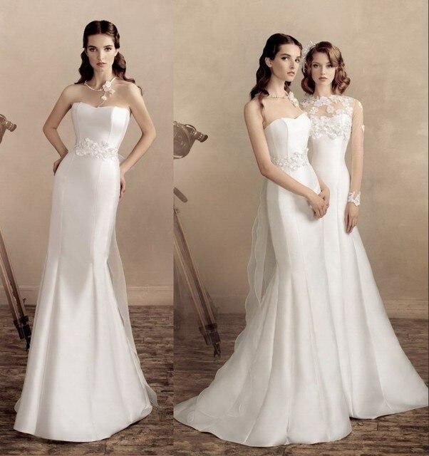 12c93868f086 Plain White Mermaid Wedding Dress Strapless Long Satin Bridal Gown 2015 Wedding  Dress with Appliqued Sheer Jacket JW182