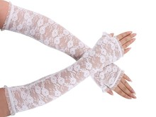 Women Fingerless Sunscreen Gloves Sexy Stretch White Floral Lace Ruffle Elbow glove