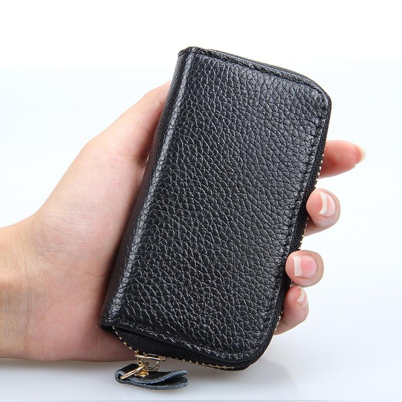 цена на 20170 New Genuine Leather Unisex Key Wallet Purse Women Men Car Housekeeper Housekeeper Wallet Key Holder Case