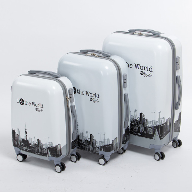 Girl and boy 20 24 28inches(3pieces/set) fashion hardside trolley luggage set,pure the world trip travel luggage bags on wheels
