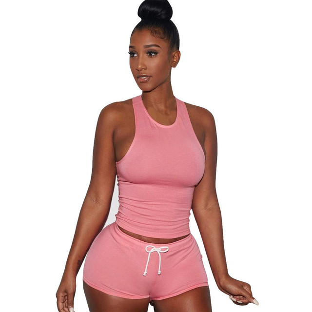 Free Ostrich Women Sexy Tracksuit Suit Camis Crop Top Pant Two Piece Set Women's Casual 2 Piece Set 2019 Summer Cropped C3035 by Free Ostrich