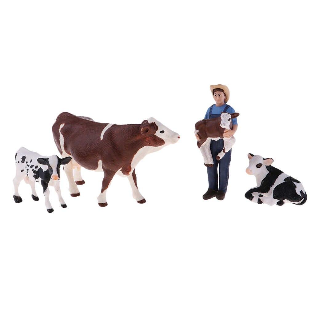 Figuras Playset educacional Animal de Fazenda com Vacas Farmer & 4, Aprendizagem Brinquedos Educativos para Crianças Meninos Meninas
