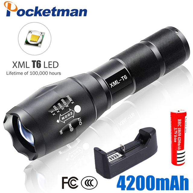 High Bright E17 4500 Lumens XM-L T6 LED Flashlight 5-Mode Zoomable linternas LED Torch by 1*18650 or 3*AAA
