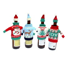 2Pcs/Set Merry Christmas 2017 Wine Bottle Cover Bag Natal Clothes With Hats Cute Sweater Tree Home Navided Decoration Wholesale
