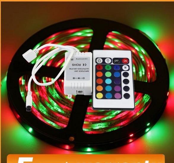 Non Waterproof 5M RGB LED Strip 2835 3528 12V 24Key IR Remote Controller Flexible Light Led Tape Decoration Lamp free shipping