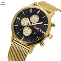 NORTE dos homens Novos da Marca Negócio Relógio Glod Ultra Fino de Aço Inoxidável Relógio de Quartzo Relógio de Pulso Moda Relógios Relógios De Luxo Homens