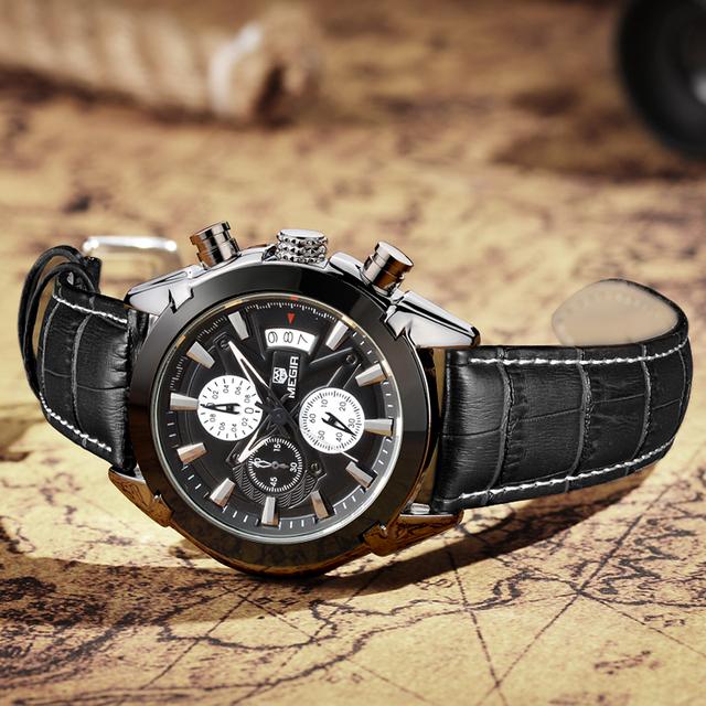 MEGIR Chronograph Casual Watch Men Luxury Brand Quartz Military Sport Watch Genuine Leather Men's Wristwatch relogio masculino