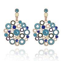New Baroque Big Circle Wheel Color Crystal Flower Round Earrings For Women Wedding Party Nightclub Bohemia