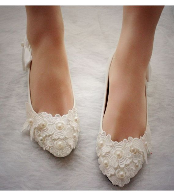 ... Satin Wedding Shoes With Flat Heel Plus Size 40 41 Woman Wedding Shoes  Ivory Lace Flower Bow Amazon Com Adora Ivory Flat Wedding Shoes Flats ... 3b0b8df32a70