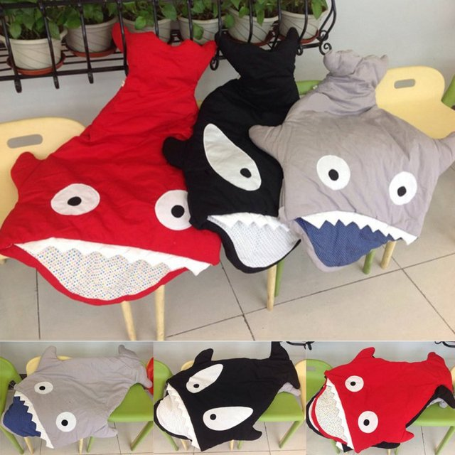 Newborn Sleeping Bag Winter Shark Stroller Bed Swaddle Blanket Wrap Bedding Cartoon Cute Baby Sleeping Bag