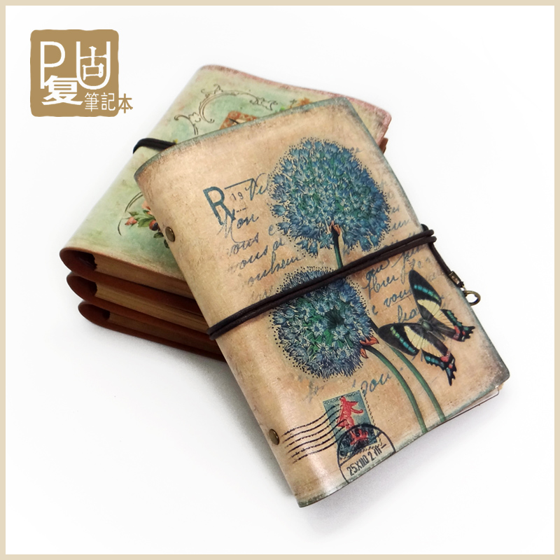 2018retro Travel plan notebook,creative leather notebook,Art design jotter,Kraft Paper diary,Office school stationery pocketbook 140 page note paper creative fruit design