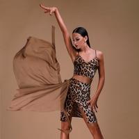Female Latin Dance Performances Skirt Leopard Latin skirt women Net skirt Latin/Cha cha/Rumba/Samba Latin Dance wear DQS1099