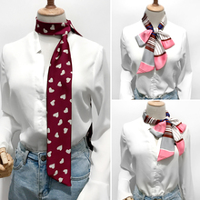 2019 Autumn small long scarf narrow silk neckerchief for bussiness belt female bag ribbon women infinity gift
