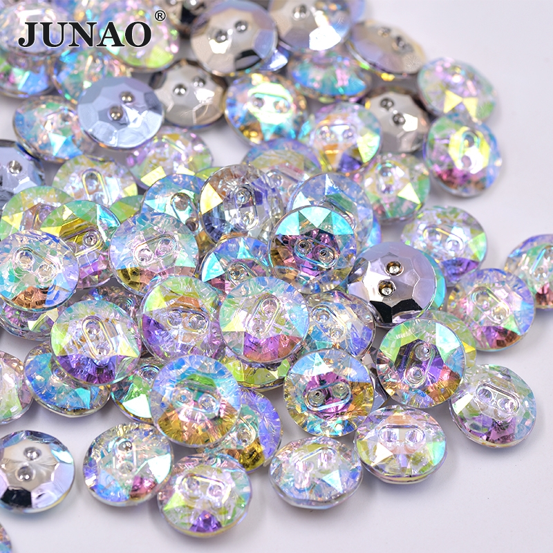 Junao 15mm crystal ab rhinestone buttons round sewing for Decorative buttons for crafts