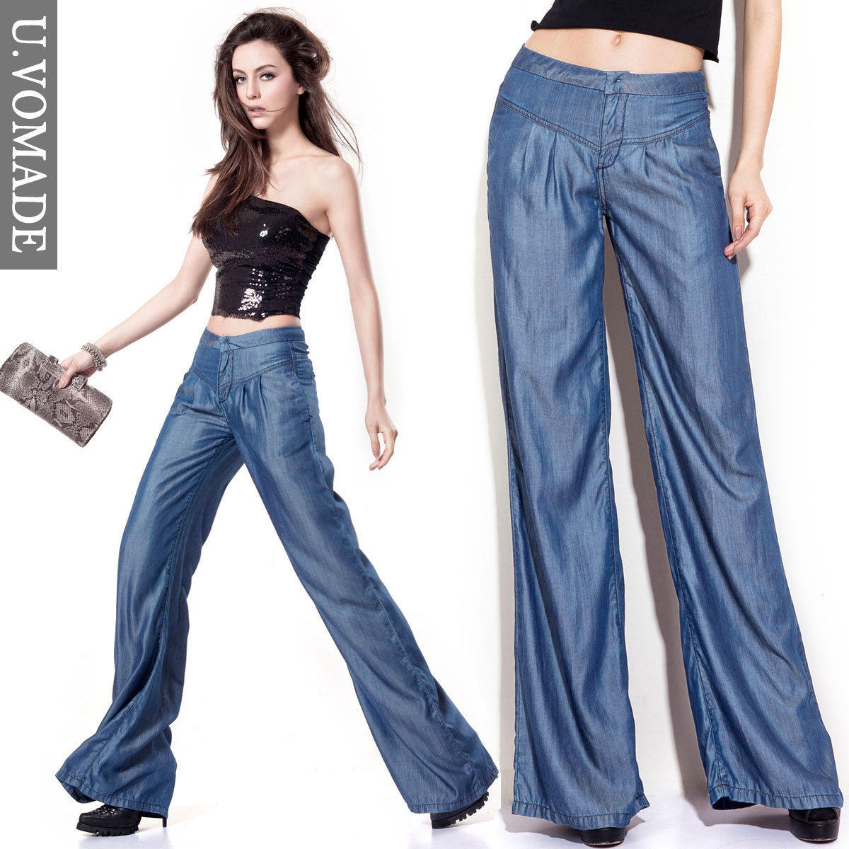 0ad0646d87c Tencel jeans wide leg pants loose straight jeans female thin mid waist wide  leg pants-in Jeans from Women s Clothing on Aliexpress.com