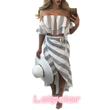 Cascading Ruffle Striped off Shoulder Sleeveless Beach Wear Two Piece Summer Dress 2018 Casual Bodycon Beach Dresses Laipelar striped off the shoulder tulle two piece dress