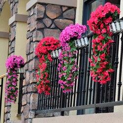 Violeta artificial flor simulação parede pendurado cesta flor orquídea falso videira de seda flores